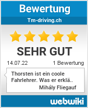 Bewertungen zu tm-driving.ch